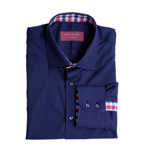 donkerblauw met geruite binnenkant overhemd