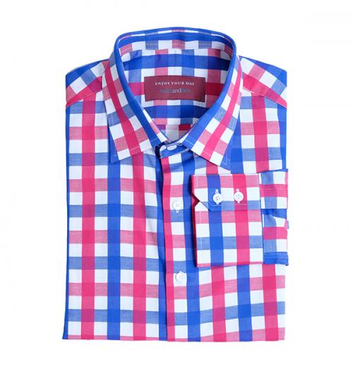 blauw met roze overhemd