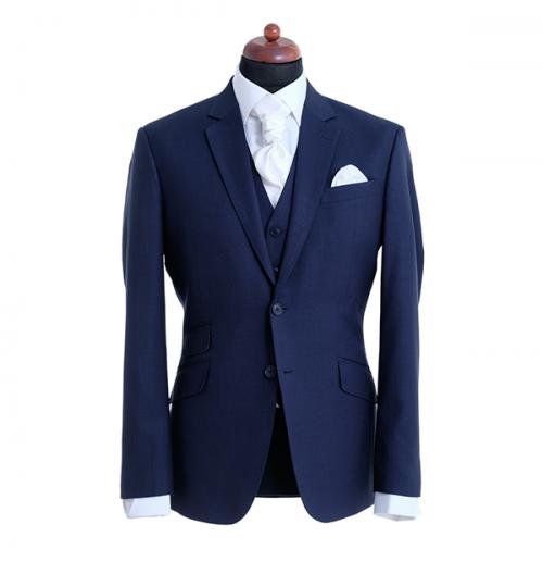 donkerblauw trouwpak met wit vest